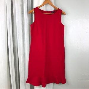 Land's End Ponte Knit Shift Dress Sz 4 Red Ruffle